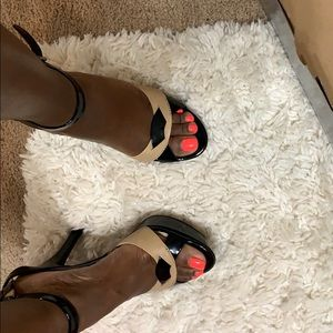 Black and Tan patent leather heels